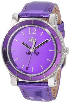 Juicy Couture Women's 1900840 HRH Purple Mirror-Metallic Leather Strap Watch #JUICYWATCHES #JUICYWOMEN #WOMENSWATCHES #AMAZONSHOPPING #MULTIWATCHBRAND