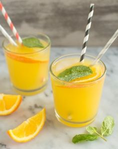 Orange Mint Coconut Water | healthynibblesandbits.com