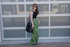 show me your mumu perfect pants, frond of you, cuyana oversized carryall, baublebar crispin earrings, black wedges, karen walker number one sunglasses, american eagle crop top, plam print pants, wide leg pants, fewer better
