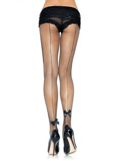"Women's ""Backseam Bow"" Tights by Leg Avenue (Black)"