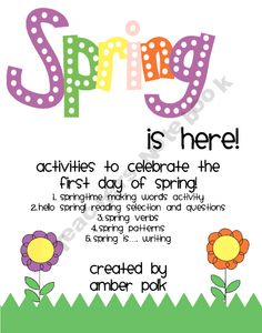 Spring activities - FREE when I pinned it