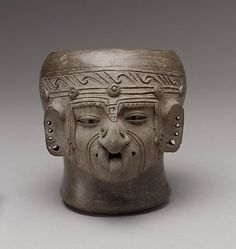 ECUADOR | Head Vessel, 8th–12th century. Ecuador. The Metropolitan Museum of Art, New York. Purchase, The Michael C. Rockefeller Memorial Collection, Bequest of Nelson A. Rockefeller and Gift of Nathan Cummings, by exchange, 1981 (1981.158) #WorldCup
