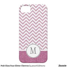 Pink Glam Faux Glitter Chevron iPhone 5/5S Cover