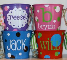 Personalized 5quart Bucket by happythoughtsgifts on Etsy, $22.00