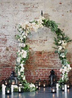 The garden came inside with this loft inspiration: http://www.stylemepretty.com/new-york-weddings/new-york-city/brooklyn/2015/05/22/romantic-summer-ceremony-decor-inspiration/ | Photography: Alicia Swedenborg - http://www.aliciaswedenborg.com/