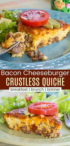 Low Carb Bacon Cheeseburger Crustless Quiche - this delicious egg recipe is filled with ground beef, bacon, and cheese. Just add your favorite hamburger toppings for an easy gluten-free and keto-friendly breakfast, brunch, or breakfast for dinner. Hamburger Toppings, Hamburger Egg, Hamburger Recipes For Dinner, Low Carb Hamburger Recipes, Ground Beef Recipes For Dinner, Dinner With Ground Beef, Dinner Recipes, Low Calorie Recipe With Ground Beef, Gluten Free Recipes Ground Beef