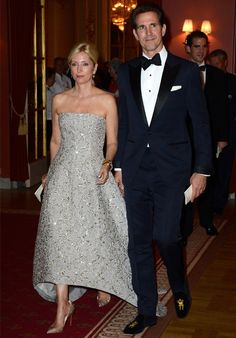 """Crown Princess Marie Chantal and Crown Prince Pavlos of Greece arrive at Grand Hotel, Stockholm for the pre-wedding dinner on June 7th; wedding of Princess Madeleine of Sweden and mr. Christopher """"Chris"""" O'Neill, June 8th 2013"""