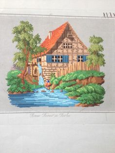 Antique Berlin Woolwork Pattern - Watermill