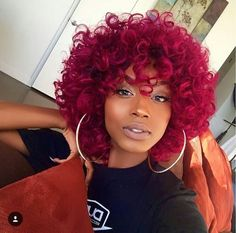 35 Red Hair Color for American Women!Red hair color is very popular for many years. A girl with red hair will never go unnoticed. Kinky Curly Wigs, Human Hair Wigs, Curly Braids, African American Short Haircuts, Curly Hair Styles, Natural Hair Styles, Curly Red Hair, Curly Bob, Natural Beauty