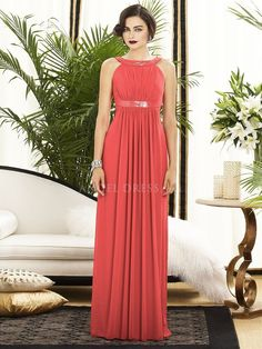 Halter Chiffon With Sequins Sheath/ Column Floor Length Bridesmaids Gown