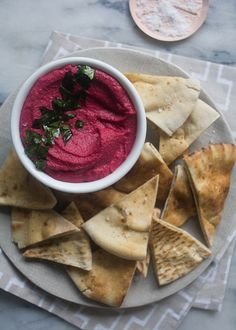 Beet Hummus with Crispy Beet Greens