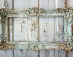 Ornate picture frame wall hanging distressed faded blues white French European inspired display home decor accent anita spero design