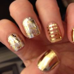 We were just writing about the best ways to get great metallic manicures, and then @Shea Caithaml posted this delicious nail design. Love is golden.
