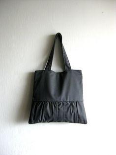 Tote bag, handbag, purse, romantic bag - Delicada Tote Bag in dark gray - SALE 20% OFF - Prices already reduced. $44.00, via Etsy.