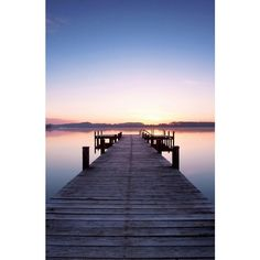 Wallpops Pier at Sunrise Wall Mural ($250) ❤ liked on Polyvore featuring home, home decor, wall art, multi blue, blue wall art, vinyl wall murals, lighted wall art, vinyl wall art and wall murals
