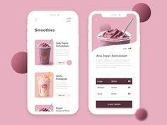 Smoothie Ordering App designed by MD Touhidul Islam Jahin. Ui Design Mobile, Web Design Tips, App Ui Design, Mobile Ui, Design Design, Dashboard Design, Interface Design, Flat Design, Design Process