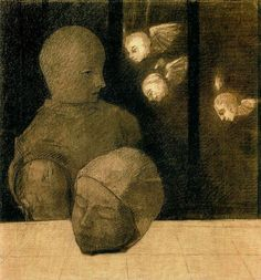 Odilon Redon 1840-1916  The prisoner  Charcoal