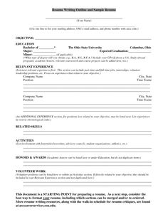 Resume Writing Outline And Sample Resume