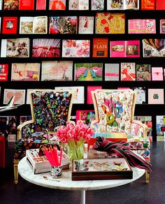 Book display at Chandelier Creative Book Ledge, Book Wall, Chandelier Creative, Rose Fushia, Josef Frank, Sweet Home, Coffee Table Books, My New Room, Retail Design