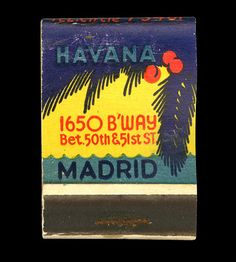 matchbook from Havana Madrid - New York City, NY