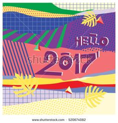 Happy New Year 2017 background. Calendar cover template. Colorful & Modern memphis style background. Hipster greeting card vector illustration.