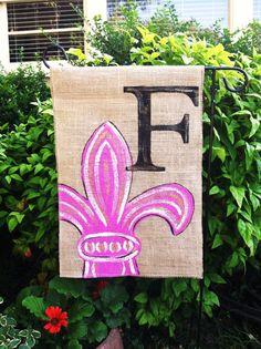 Fleur De Lis Burlap Garden Flag Hot Pink with by ModernRusticGirl, $20.00
