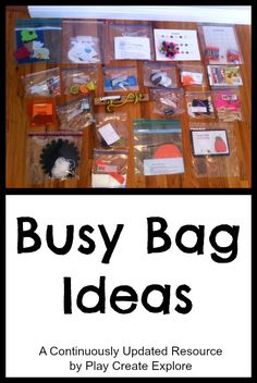 Busy Bags for toddlers! What a great idea! We've always had a car bag and a restaurant bag but this is more encompassing.