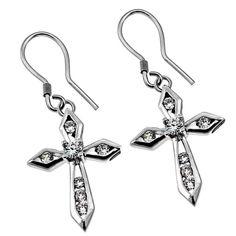 CZ Makaira Earrings on SonGear.com - Christian Shirts, Jewelry Cross Earrings, Dangle Earrings, Christian Jewelry, Christian Shirts, Piercings, Dangles, Jewels, Personalized Items, My Style
