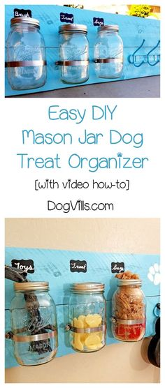Keep all of your dog accessories organized in style with this easy DIY mason jar dog food organizer! Check out the video tutorial too!