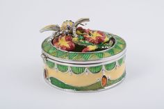 Amazon.com - Bee on Flowers Green and Yellow Trinket Box Decorated with Swarovski Crystals Faberge Styled -