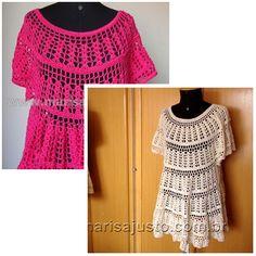 Batas em crochet a mão, confeccionadas com fio de algodão 100% mercerizado. P M G GG