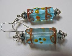 Hand Made Turquoise Blown Glass Lampwork and Bicone by TheBeadFrog