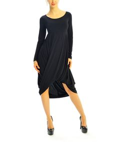 This Black Twist Hi-Low Dress by Zac Studio is perfect! #zulilyfinds