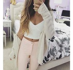 white crop top + pink jeans.