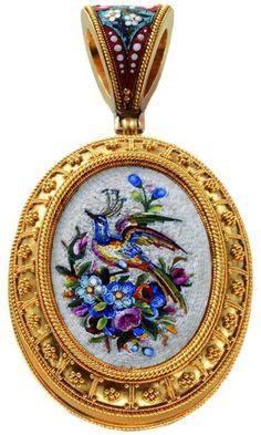 Micro Mosaic Pendant  #mosaic jewelry #micromosaic #vintagemosaicjewelry