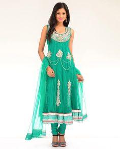 Sea Green Net Kalidar Suit with Crystal Stones