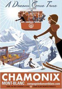 vintage ski poster - Chamonix - Charlie Adam