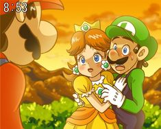 mario has snook up on daisy and luigi and now is very mad because luigi was supposed to play mario party 5 Mario Und Luigi, Mario Bros., Mario Party, Super Mario Kunst, Super Mario Art, Princesa Daisy, Princesa Peach, Metroid, All Mario Games