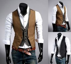 UK Style New mens slim fit double layered design casual waistcoat vest 3size | eBay