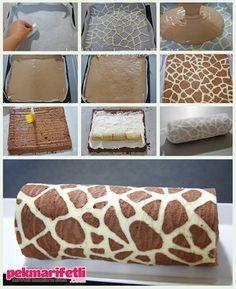 Zürafa desenli rulo pasta yapımı | Mutfak | Pek Marifetli!
