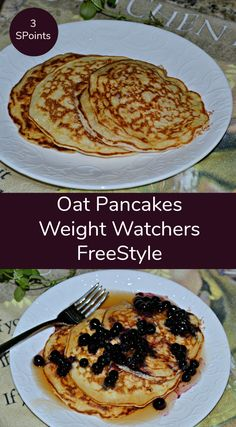 Oat Pancakes 3 SmartPoints on Weight Watchers FreeStyle - a healthy oatmeal pancake recipe that is high protein, low fat and only 3 SmartPoints on Weight Watchers Freestyle.