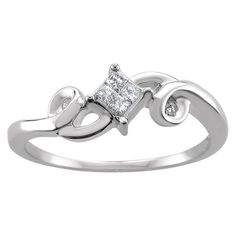 1/10 CT. T.W. Princess-Cut Diamond Swirling Invisible Set Promise Ring in 10K White Gold (H-I-I1-I2) (