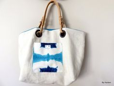 SAC REVERSIBLE en lin et coton turquoise de la boutique bykarbon sur Etsy