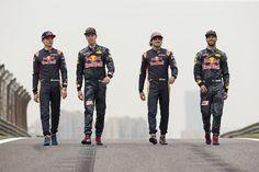 Max Verstappen, Scuderia Toro Rosso, Daniil Kvyat, Red Bull Racing, Carlos Sainz Jr, Scuderia Toro Rosso and Daniel Ricciardo, Red Bull Racing. 2016 Red Bull F1, Red Bull Racing, F1 Racing, Racing Team, Daniil Kvyat, F1 Motorsport, Aryton Senna, Daniel Ricciardo, F1 Drivers