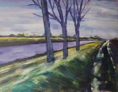 Julianakanaal 2, studie complementaire kleuren, acryl op papier 50x60, 2014, Marjo Holtland