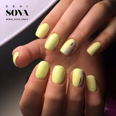 Alternate Yellow Nail Art Design. The tweak of yellow glitter, the white fusion and the yellow base would simply go perfect with your night and day outfit.