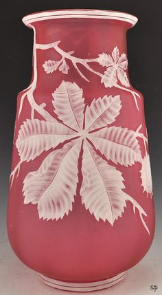 Fabulous Antique Thomas Webb Cameo Glass Vase Chestnuts