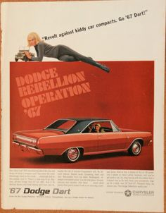 1967 Dodge Dart: My hubby restored a yellow one. Dodge Dart Gt, Plymouth Valiant, Plymouth Cars, Car Brochure, Classy Cars, Retro Advertising, Pony Car, Us Cars, Retro Cars