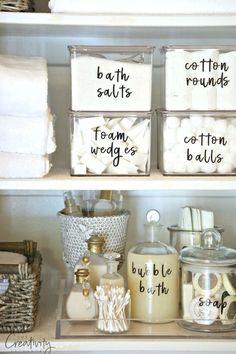 Diy Bathroom Storage Ideas Organisation Ideas For 2019 Bathroom Organisation, Kitchen Organization, Organization Hacks, Organizing Ideas, Organizing Labels, Bathroom Hacks, Budget Bathroom, Bathroom Makeovers, Bathroom Renovations