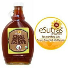 Agave Chai Spice-Organicblue agave syrup slow cooked with Chai Spice  An amazing addition to any coffee, tea or baked good!  #esutras_organics #agave #chi #sweetners #healthy #natural #vegetarian   Available at http://esutras.com/sugars-sweeteners-organic-low-glycemic-/377-chai-spice-agave-nectar.html